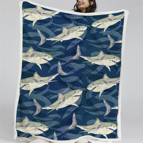 A Shiver Of Sharks Sherpa Fleece Blanket