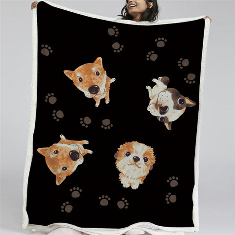 Adorable Dogs Sherpa Fleece Blanket - Beddingify