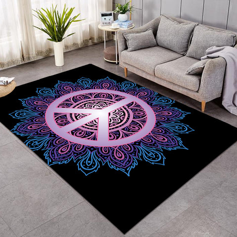 Image of Peace Mandala Black SW0451 Rug
