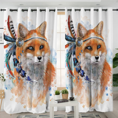Image of 3D Fox White 2 Panel Curtains
