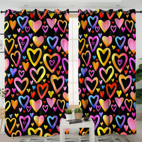 Image of Hearts & Hearts 2 Panel Curtains