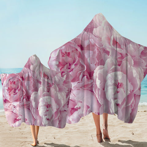 Image of Pure Pink Flowers Hooded Towel