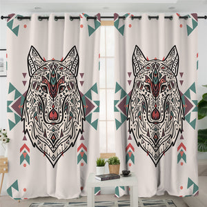 Textile Wolf Pastel 2 Panel Curtains