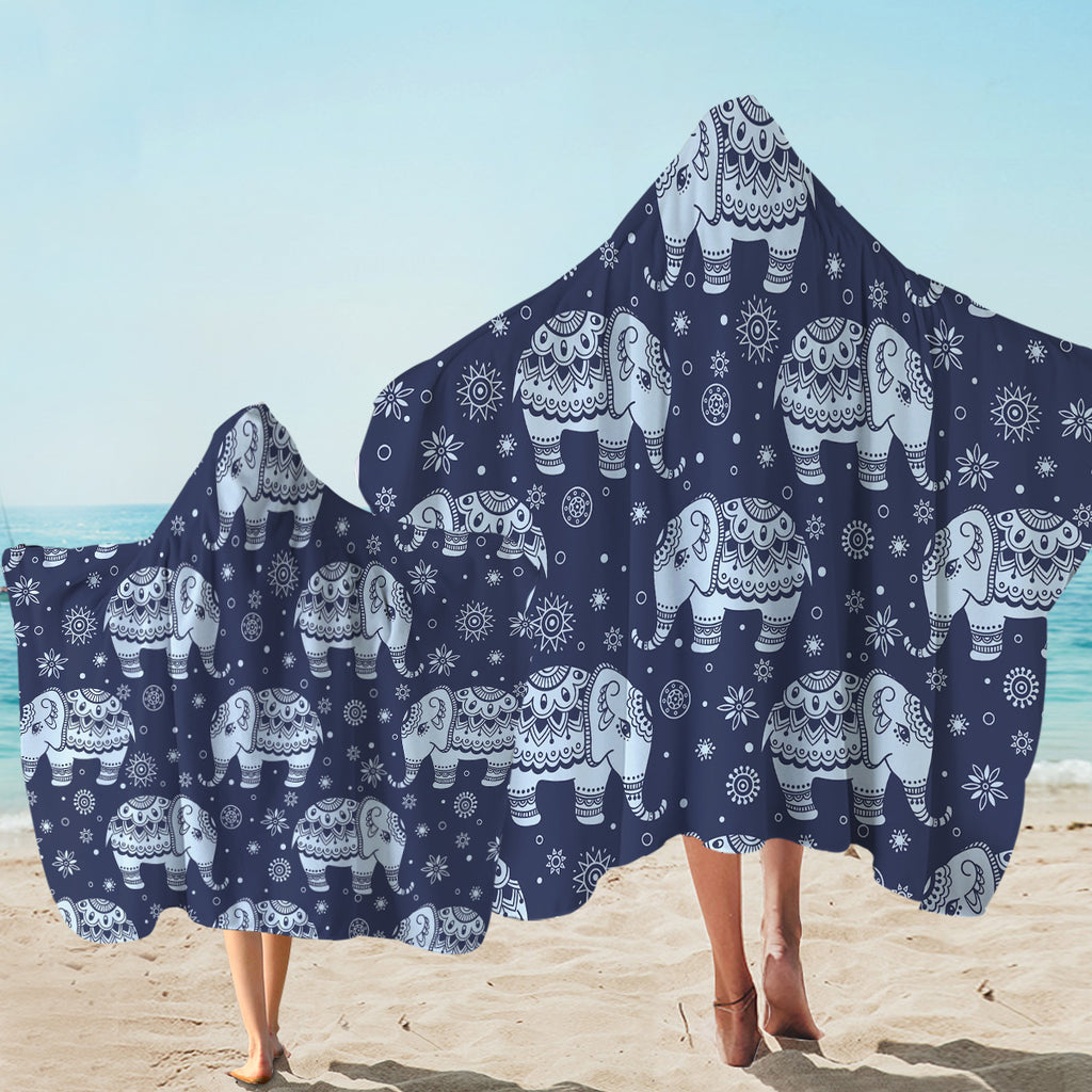 Ritual Elephant Patterns Hooded Towel