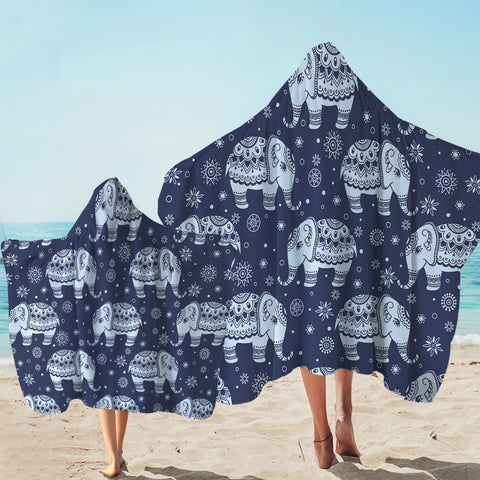 Image of Ritual Elephant Patterns Hooded Towel