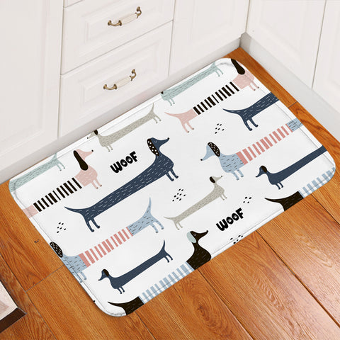 Image of Woof Dachshund White SWDD1179 Door Mat