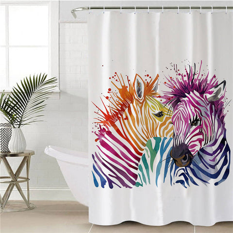 Image of Watercolor Zebra Couple Shower Curtain