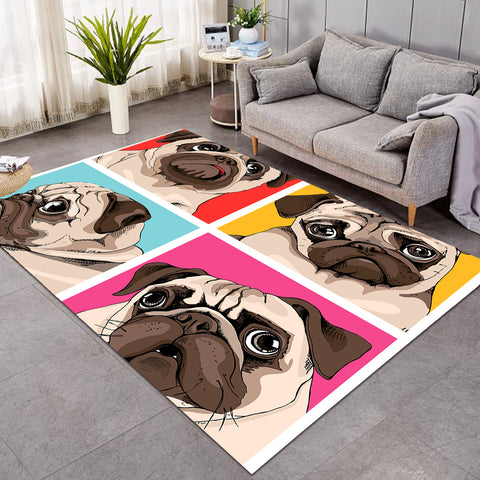 Image of Pug Portraits SW0470 Rug