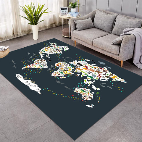 Image of World's Fauna Population SW0530 Rug