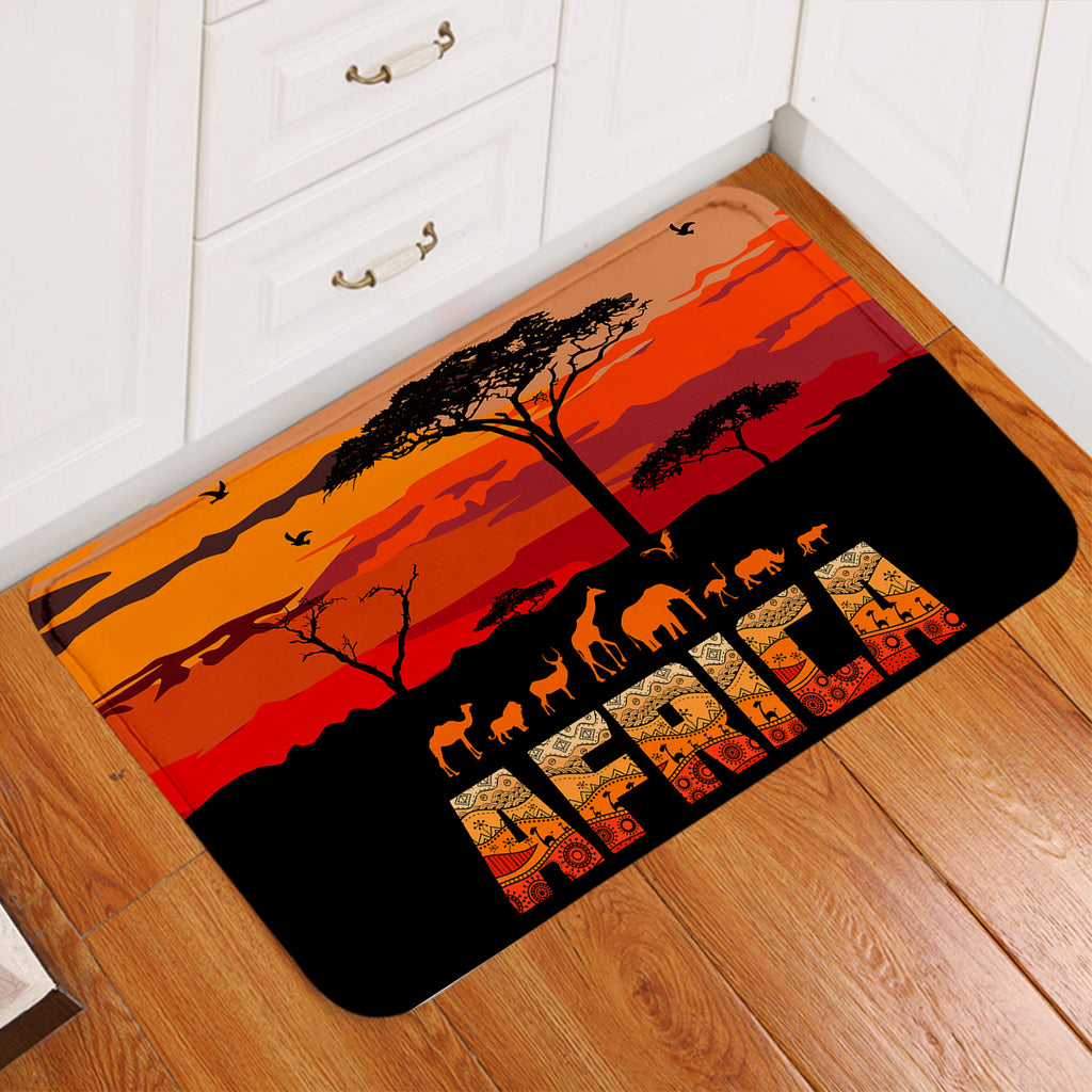 Africa Savannah Sunset Door Mat
