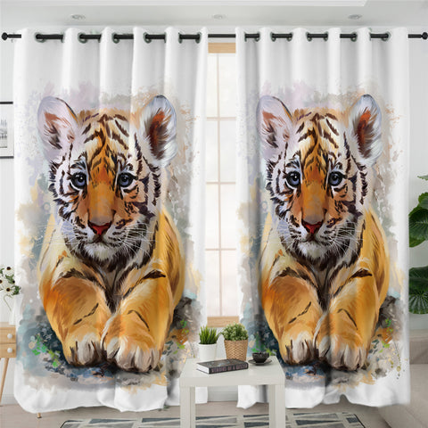 Tiger Cub White 2 Panel Curtains