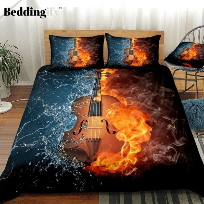 3D Violin on Fire Water Splash Bedding Set - Beddingify
