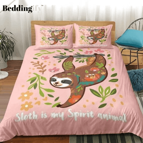 Image of Cute Sloth Pink Comforter Set - Beddingify