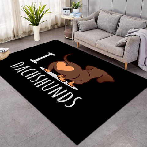 Image of I Love Dachshunds Black SW0770 Rug
