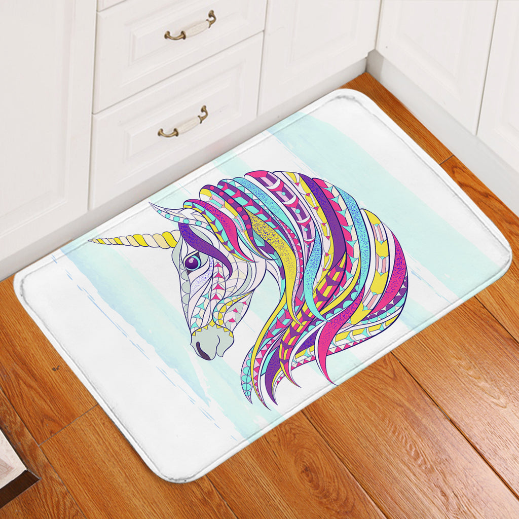 Unicorn's Colorful Mane Door Mat