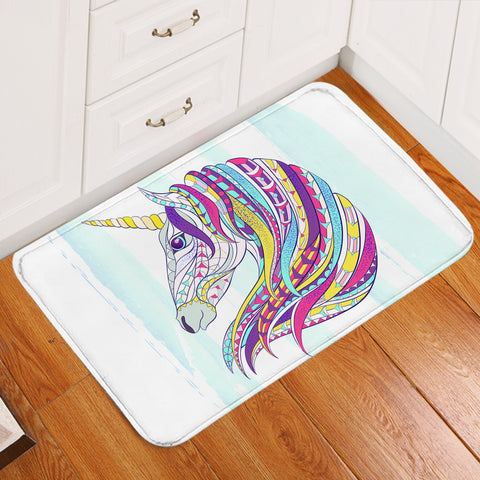 Image of Unicorn's Colorful Mane Door Mat