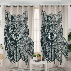 B&W Maori Wolf Teal 2 Panel Curtains