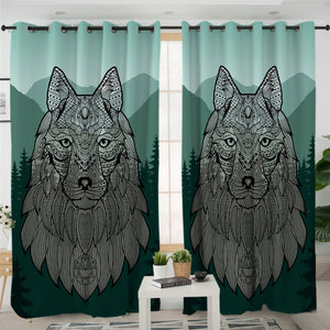 Maori Wolf Forest Themed 2 Panel Curtains