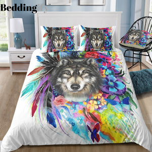 Mutilcolor Tribal Wolf Bedding Set