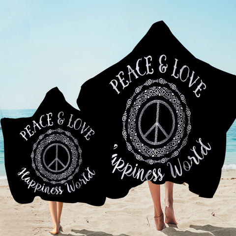 Image of World Peace & Love Black Hooded Towel