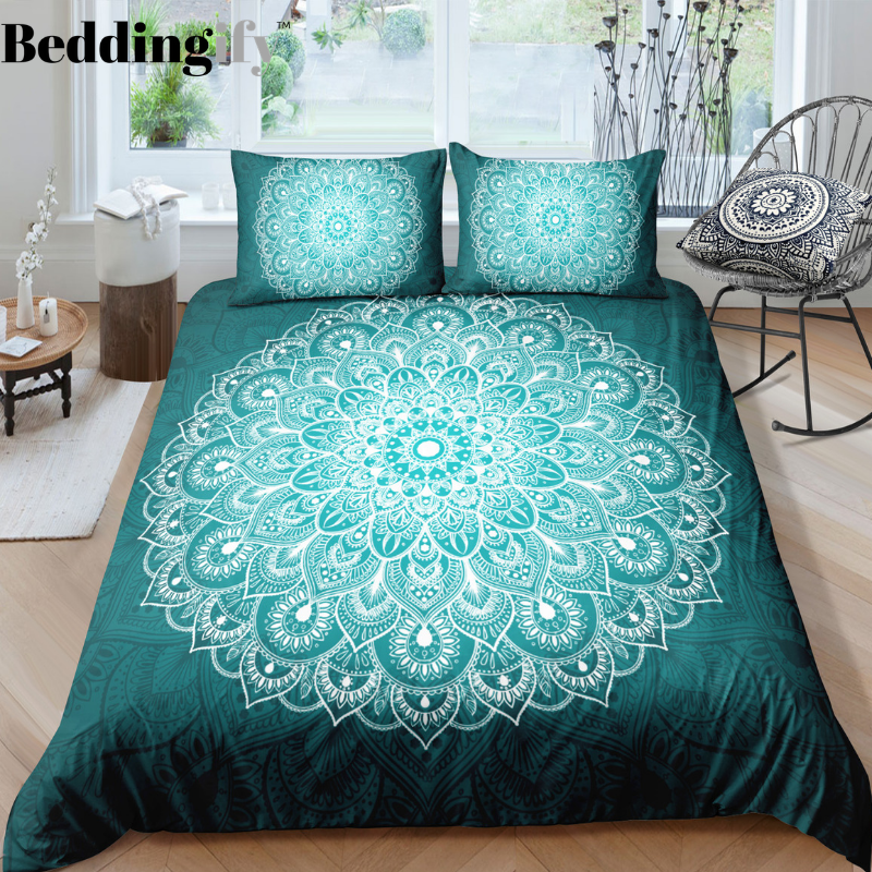 Green White Mandala Pattern Bedding Set - Beddingify