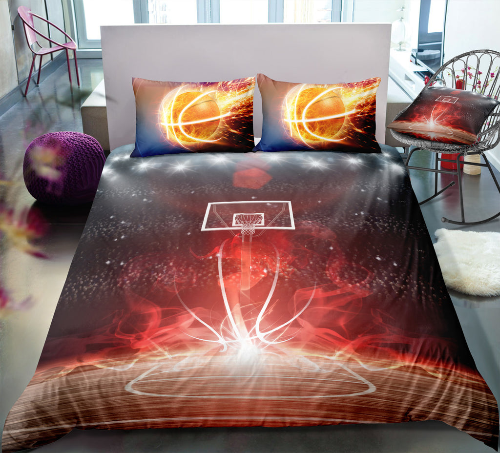 Flame Basketball Field Bedding Set - Beddingify