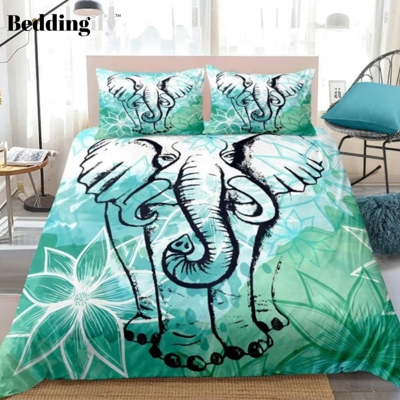 Elephant Lotus Flower Bedding Set - Beddingify