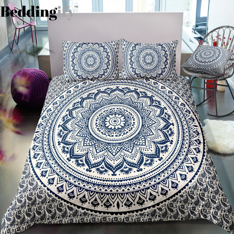 Black and Blue Mandala Bedding Set - Beddingify