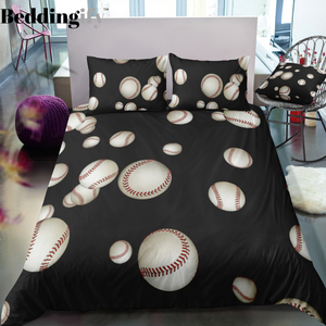 Black Baseballs Bedding Set