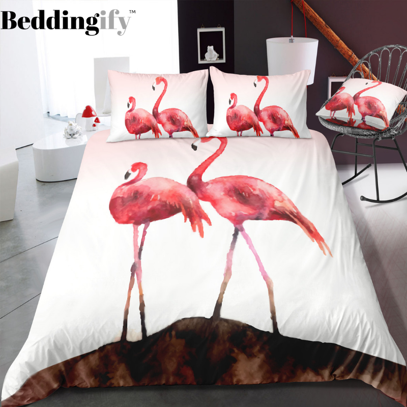 Couple of Flamingo Bedding Set - Beddingify