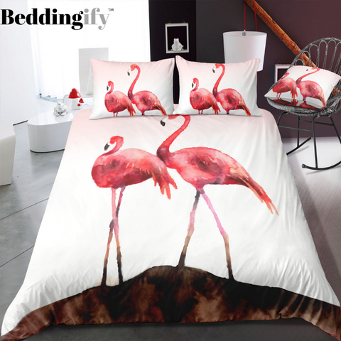 Image of Couple of Flamingo Bedding Set - Beddingify