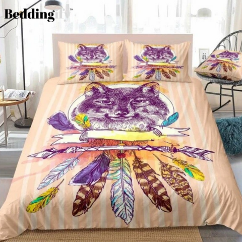 Image of Boho Wolf Feathers Stripe Bedding Set - Beddingify