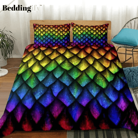 Image of Dragon Scales Luxury Rainbow Bedding Set - Beddingify