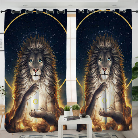 Image of Nirvarna Lion Galaxy 2 Panel Curtains