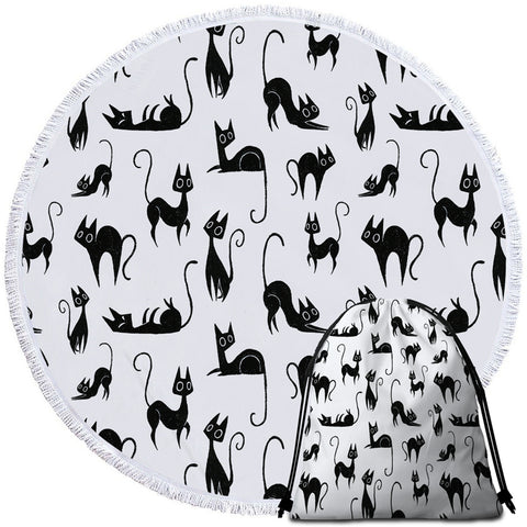 Image of A Cat's Thing Round Beach Towel Set - Beddingify