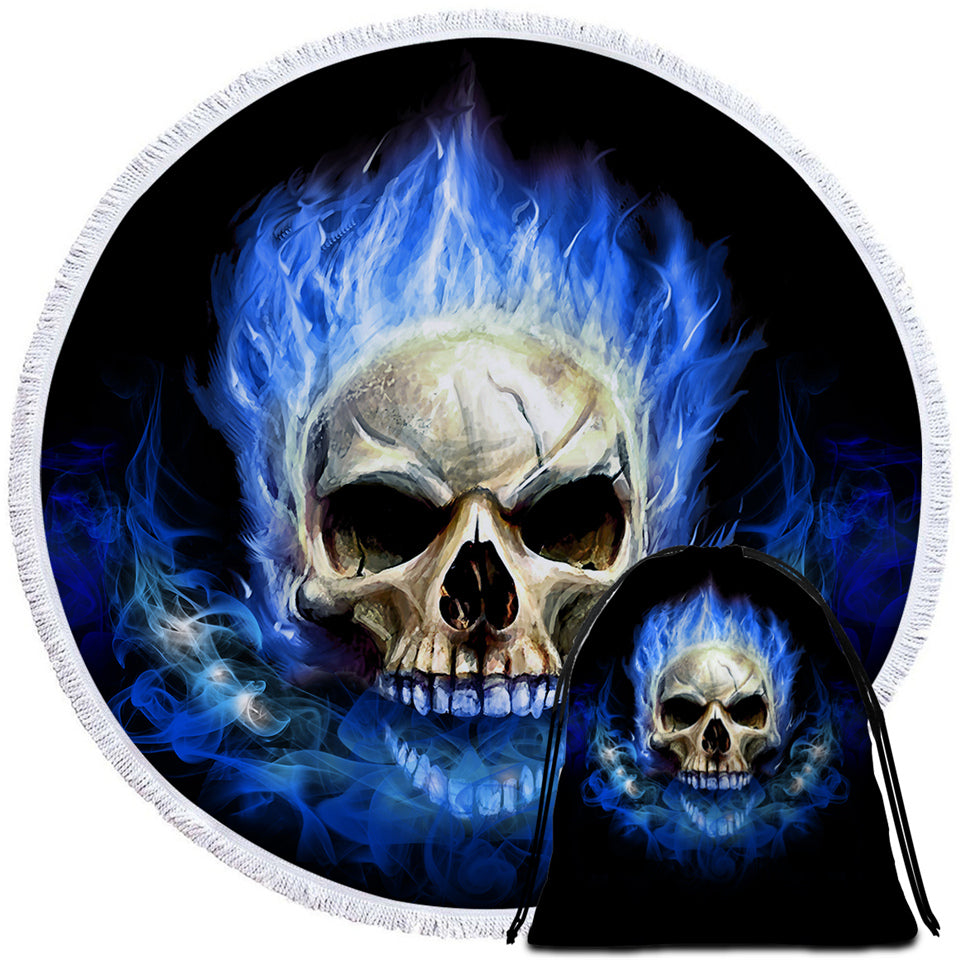 Blue Flaming Skull Round Beach Towel Set - Beddingify