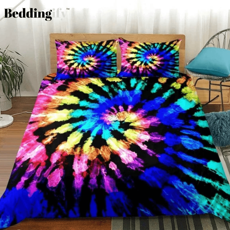 Tie-dyed Black Blue Bedding Set - Beddingify