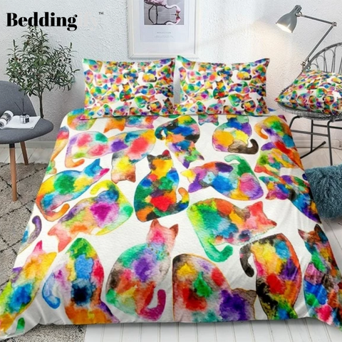 Image of Colorful Cats Bedding Set - Beddingify