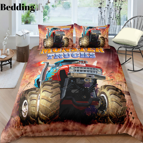 Image of Monster Truck Bedding Set For Boys - Beddingify
