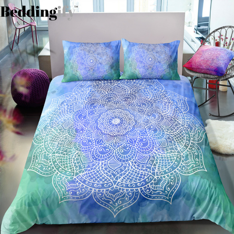Green Blue Mandala Bedding Set - Beddingify