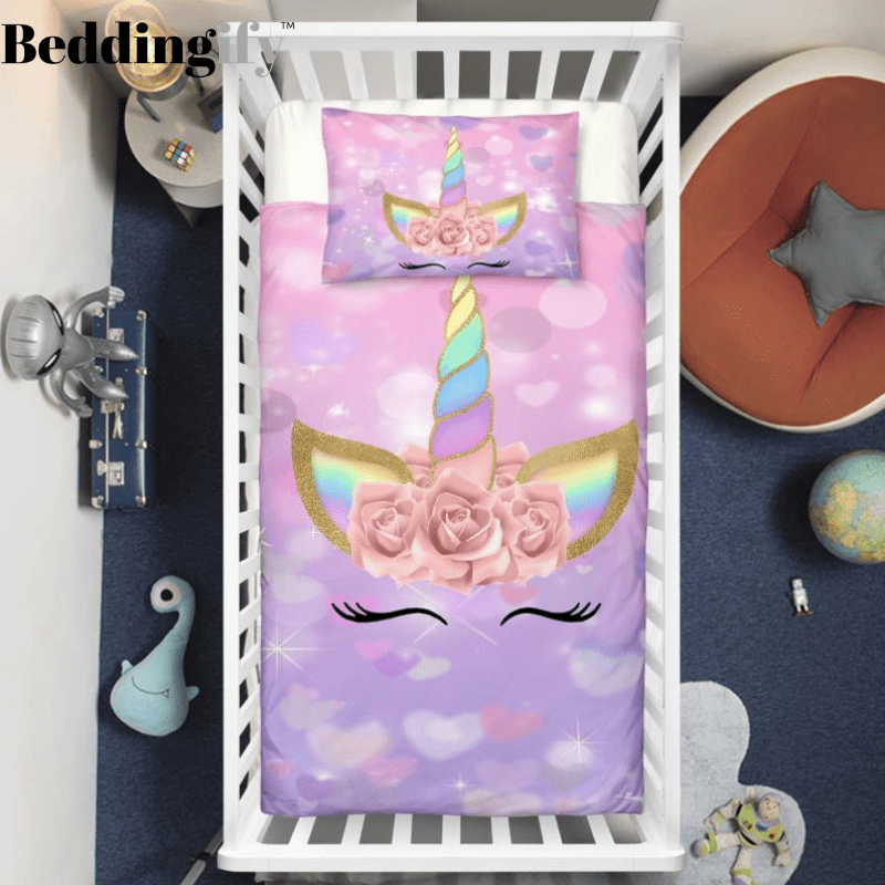 Purple Unicorn Lash Crib Bedding Set - Beddingify