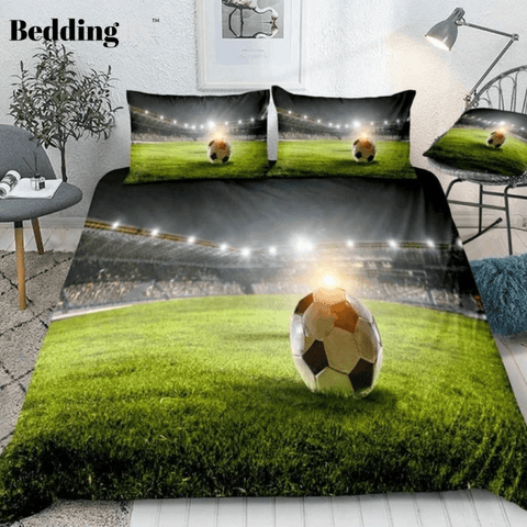 Image of 3D Football on Green Field Bedding Set - Beddingify