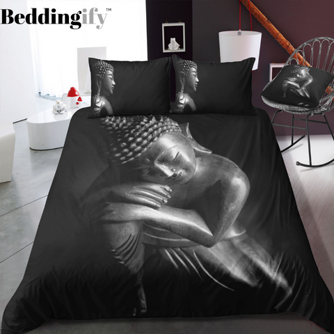 Image of Black & White Buddha Abstract Art Bedding Set - Beddingify