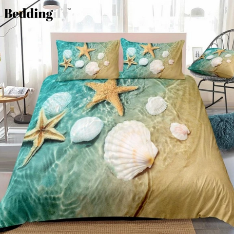 Image of Starfish and Seashell in Sea Water Bedding Set - Beddingify