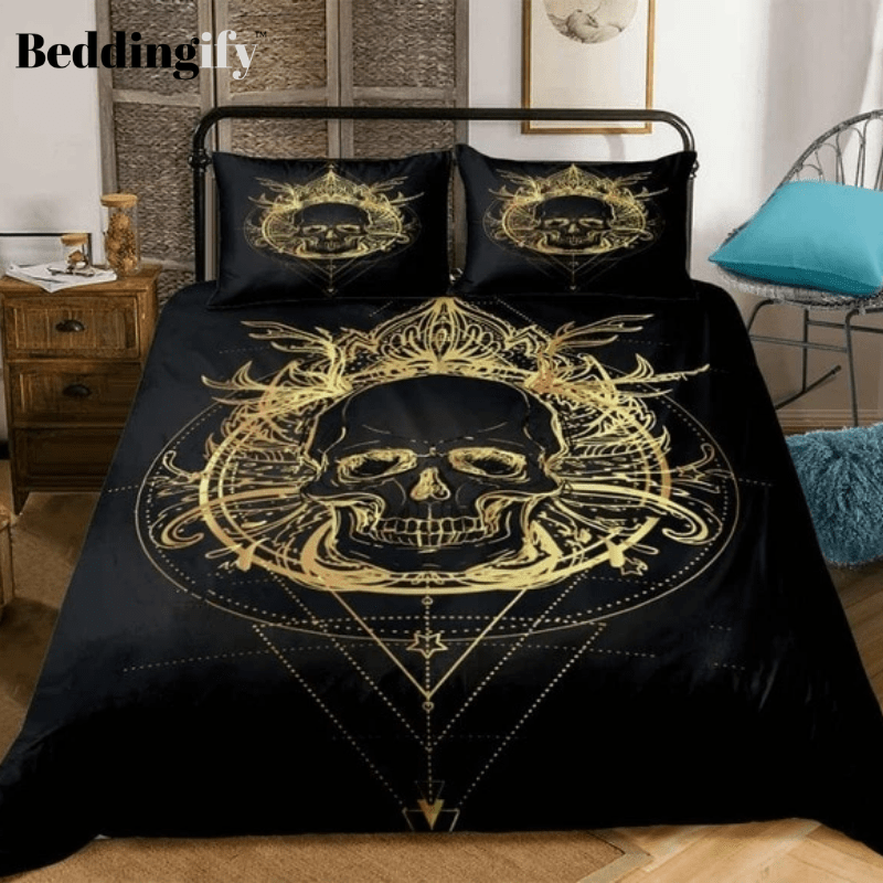 Boho Gold Skull Bedding Set - Beddingify