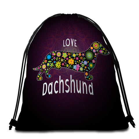 Image of Love Dachshund Round Beach Towel Set - Beddingify