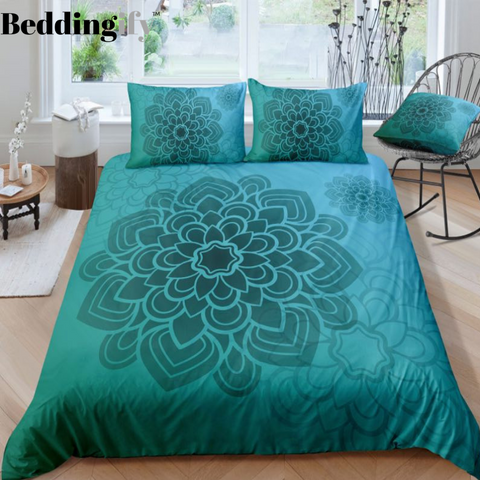 Image of Green Mandala Pattern Bedding Set - Beddingify