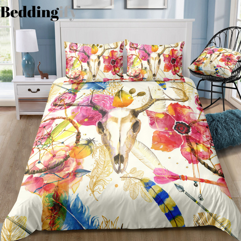 Image of Flower Tribal Head Dreamcatcher Bedding Set - Beddingify