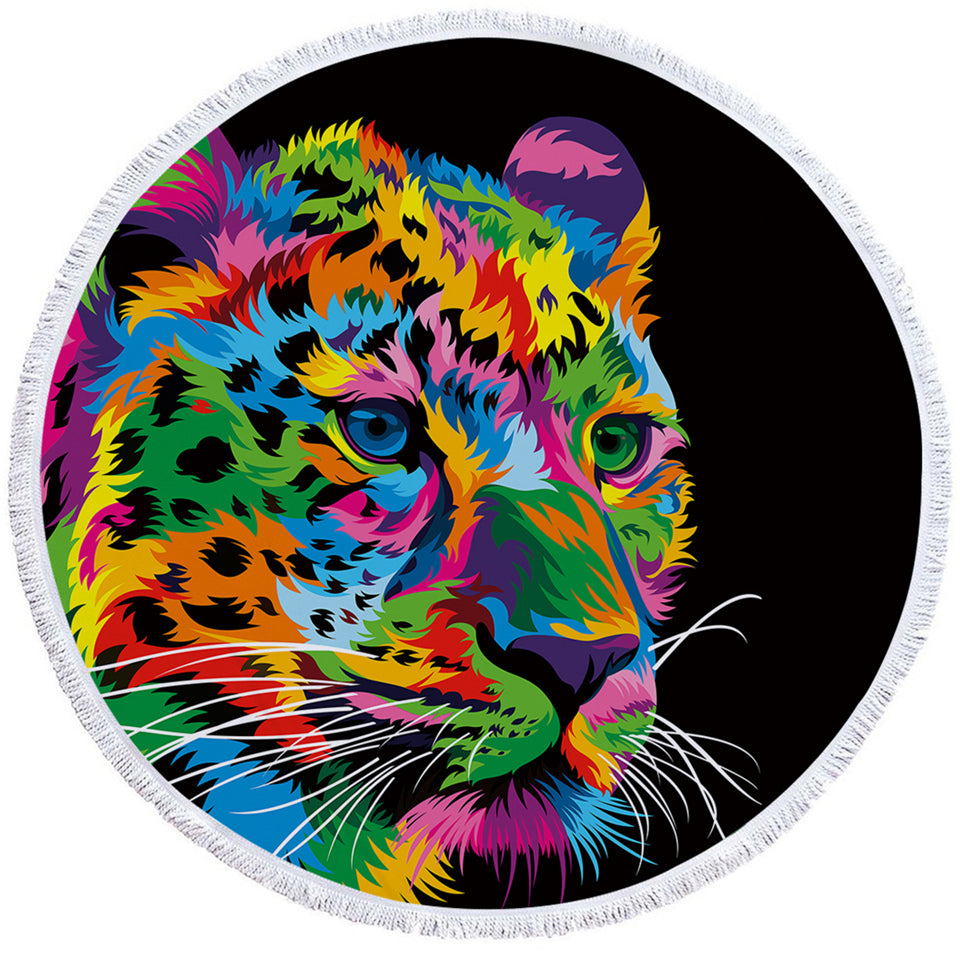 Multicolored Leopard Black Round Beach Towel Set - Beddingify