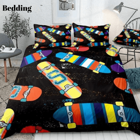 Image of Colorful Skateboard Bedding Set - Beddingify